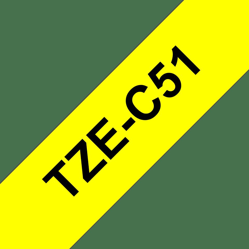 Oryginalna taśma fluorescencyjna TZe-C51 firmy Brother – czarny nadruk na żółtym fluorescencyjnym tle,  24mm szerokości 3