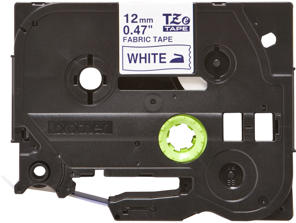 Oryginalna taśma z włókna TZe-FA3 do prasowania na gorąco – niebieski nadruk na białym tle, 12mm szerokości
