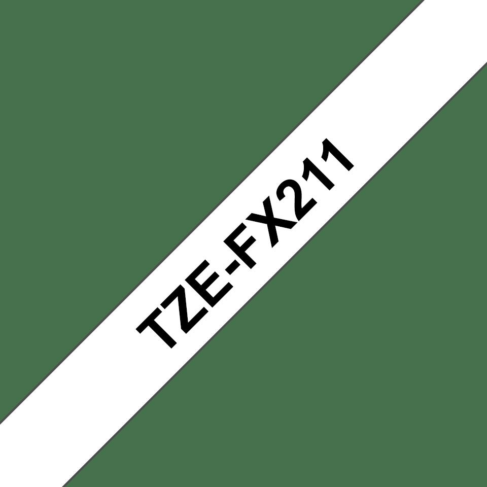Oryginalna taśma identyfikacyjna Flexi ID TZe-FX211 firmy Brother – czarny nadruk na białym tle, 6mm szerokości