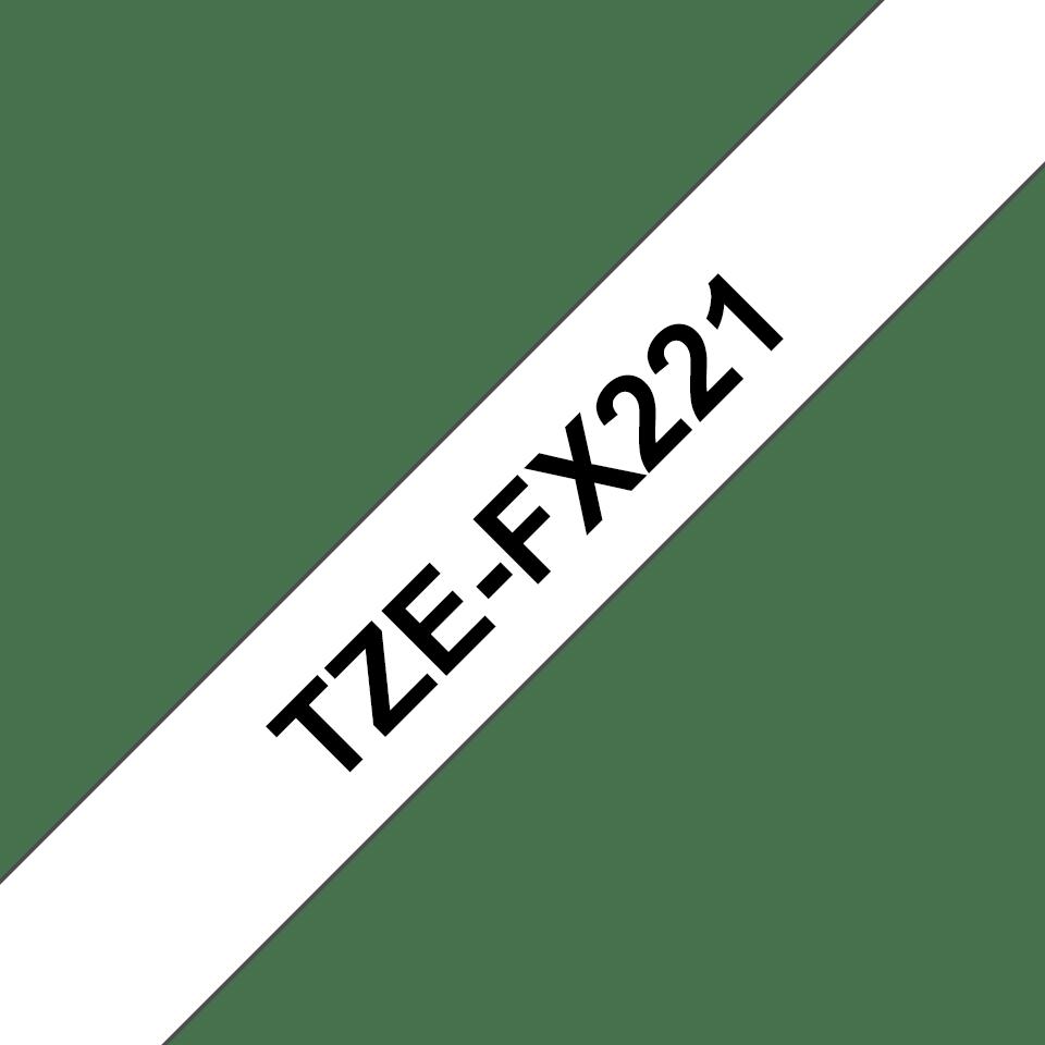 Oryginalna taśma identyfikacyjna Flexi ID TZe-FX221 firmy Brother – czarny nadruk na białym tle, 9mm szerokości 3