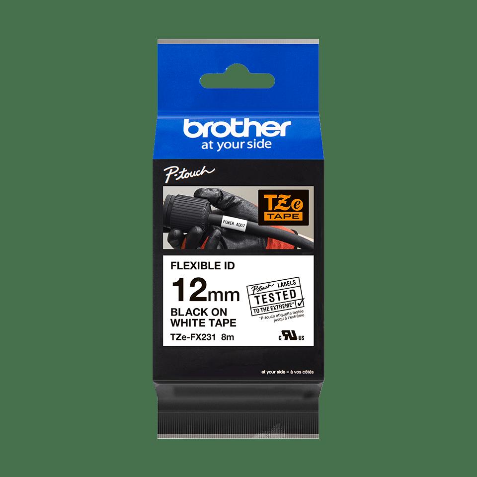Oryginalna taśma identyfikacyjna Flexi ID TZe-FX231 firmy Brother – czarny nadruk na białym tle, 12mm szerokości 3
