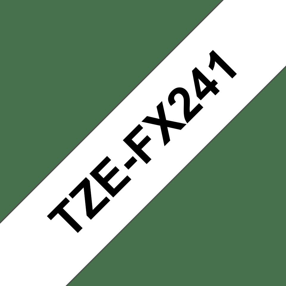 Oryginalna taśma identyfikacyjna Flexi ID TZe-FX241 firmy Brother – czarny nadruk na białym tle, 18mm szerokości 3