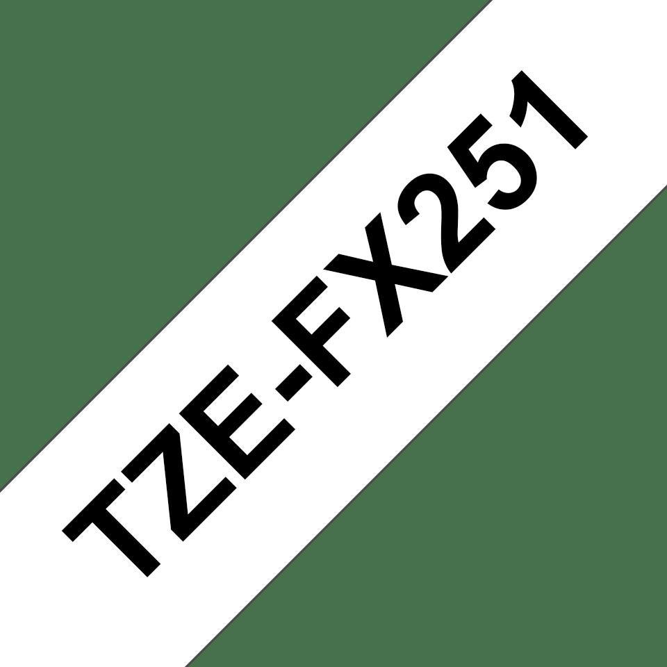 Oryginalna taśma identyfikacyjna Flexi ID TZe-FX251 firmy Brother – czarny nadruk na białym tle, 24mm szerokości 3