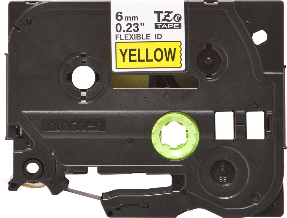 Oryginalna taśma identyfikacyjna Flexi ID TZe-FX611 firmy Brother – czarny nadruk na żółtym tle, 6mm szerokości