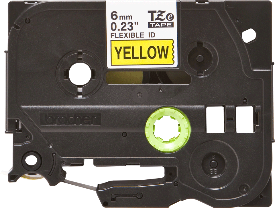 Oryginalna taśma identyfikacyjna Flexi ID TZe-FX611 firmy Brother – czarny nadruk na żółtym tle, 6mm szerokości 2