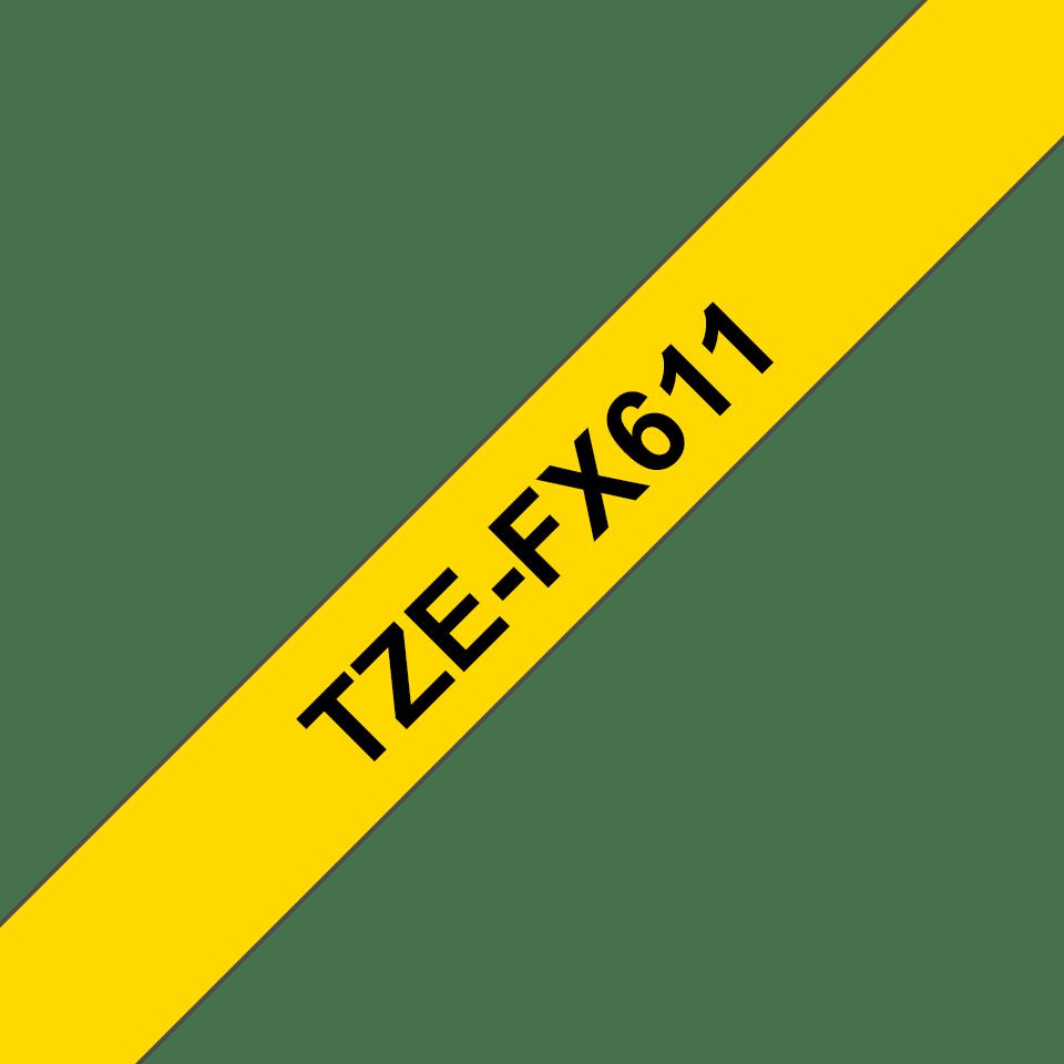 Oryginalna taśma identyfikacyjna Flexi ID TZe-FX611 firmy Brother – czarny nadruk na żółtym tle, 6mm szerokości 3