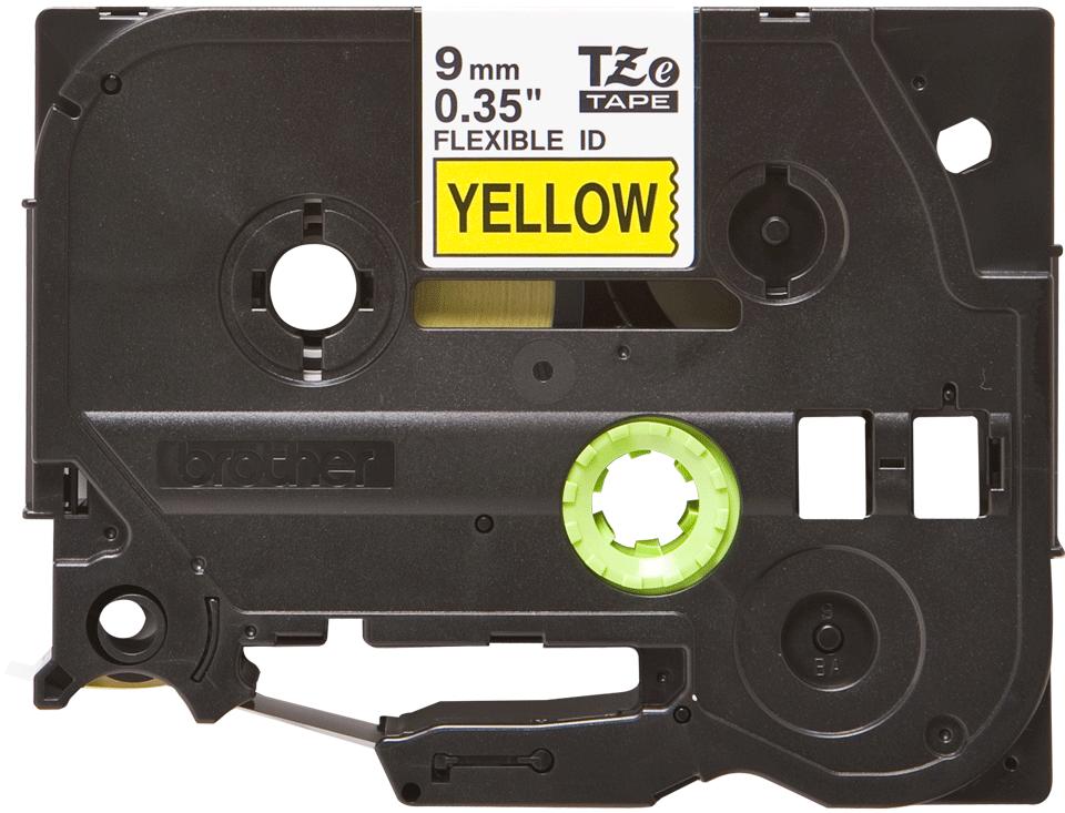 Oryginalna taśma identyfikacyjna Flexi ID TZe-FX621 firmy Brother – czarny nadruk na żółtym tle, 9mm szerokości