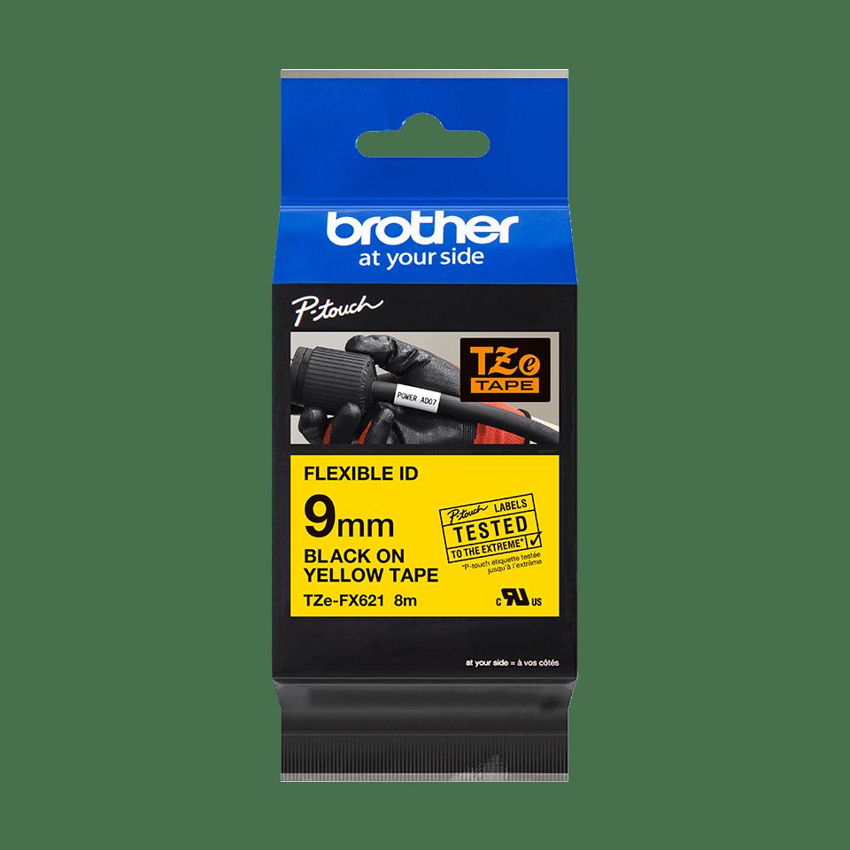 Oryginalna taśma identyfikacyjna Flexi ID TZe-FX621 firmy Brother – czarny nadruk na żółtym tle, 9mm szerokości 2