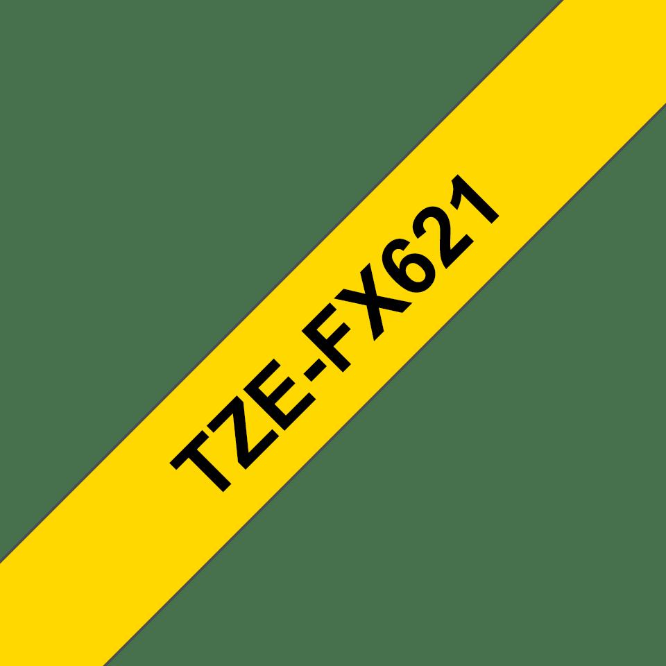 Oryginalna taśma identyfikacyjna Flexi ID TZe-FX621 firmy Brother – czarny nadruk na żółtym tle, 9mm szerokości 3