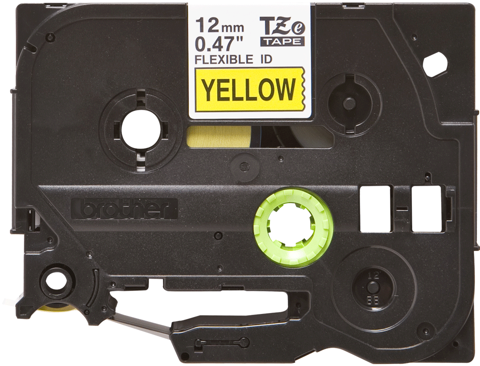Oryginalna taśma identyfikacyjna Flexi ID TZe-FX631 firmy Brother – czarny nadruk na żółtym tle, 12mm szerokości