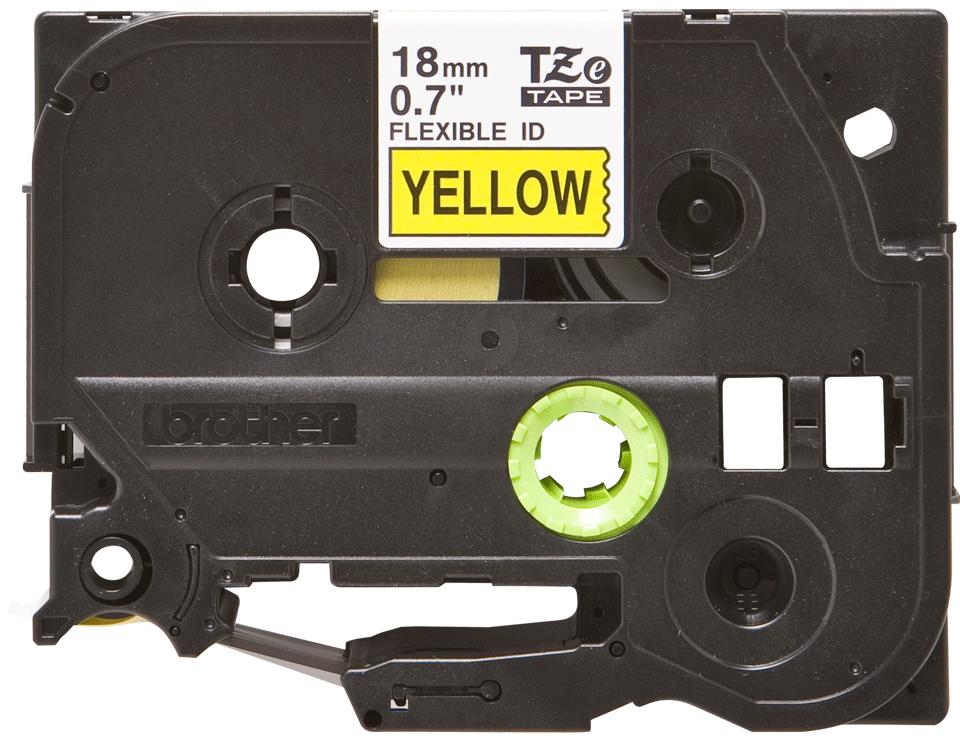 Oryginalna taśma identyfikacyjna Flexi ID TZe-FX641 firmy Brother – czarny nadruk na żółtym tle, 18mm szerokości