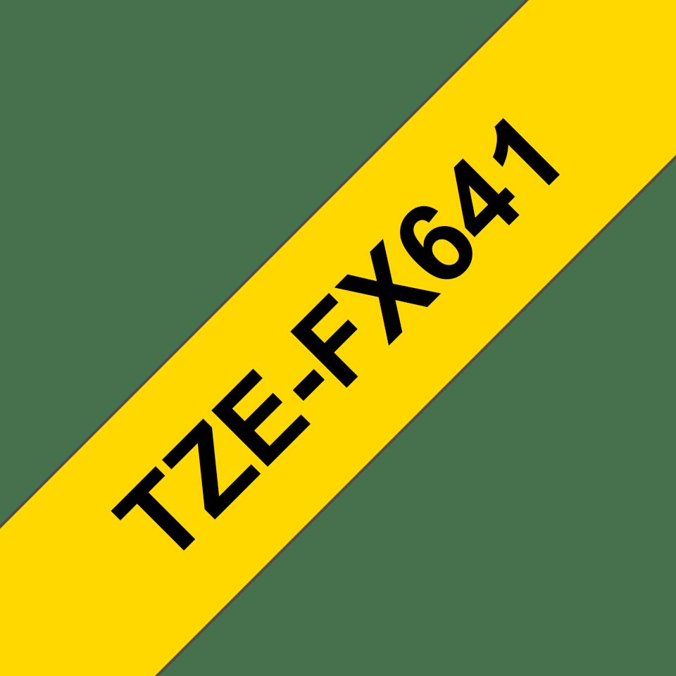 Oryginalna taśma identyfikacyjna Flexi ID TZe-FX641 firmy Brother – czarny nadruk na żółtym tle, 18mm szerokości 3