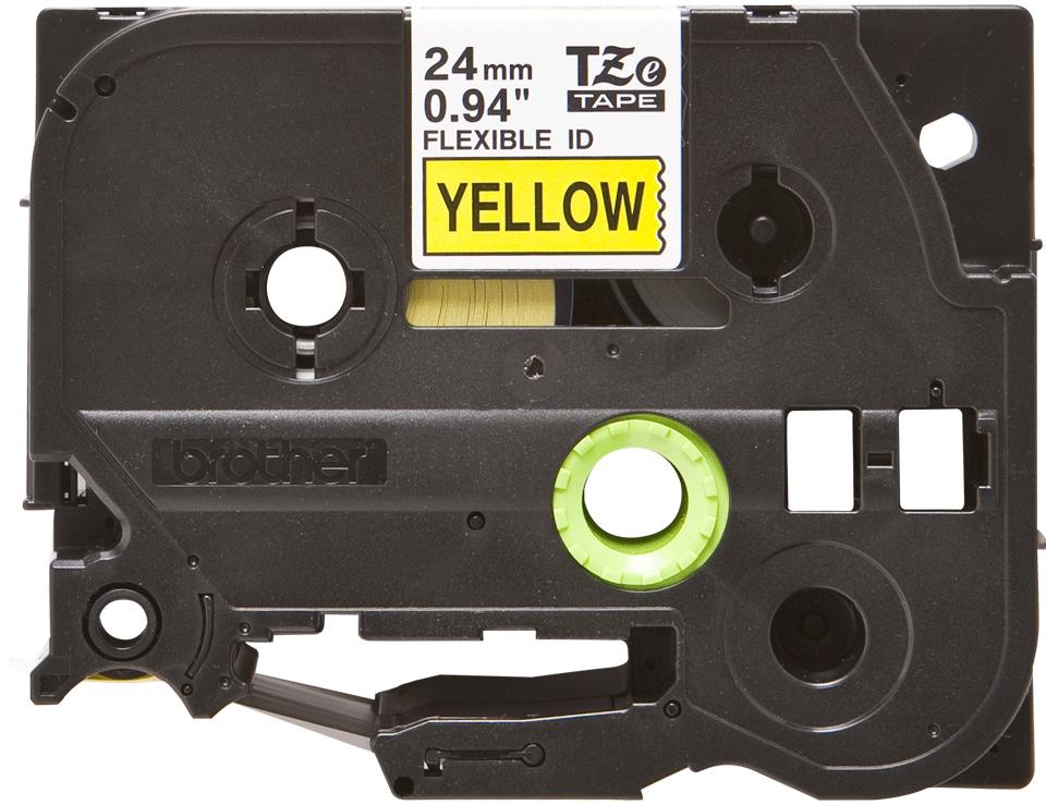 Oryginalna taśma identyfikacyjna Flexi ID TZe-FX651 firmy Brother – czarny nadruk na żółtym tle, 24mm szerokości