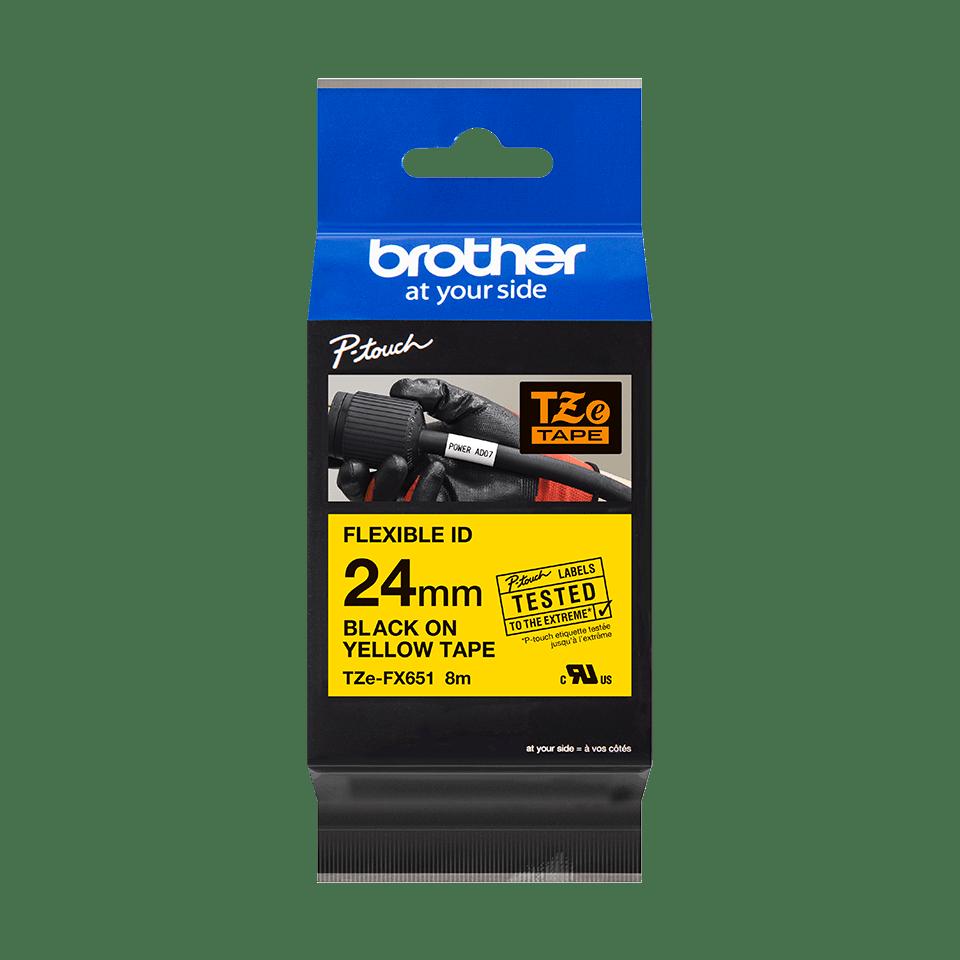 Oryginalna taśma identyfikacyjna Flexi ID TZe-FX651 firmy Brother – czarny nadruk na żółtym tle, 24mm szerokości 2