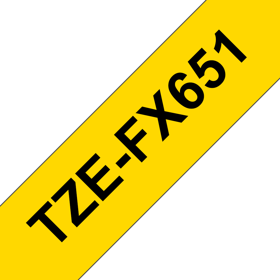 Oryginalna taśma identyfikacyjna Flexi ID TZe-FX651 firmy Brother – czarny nadruk na żółtym tle, 24mm szerokości 3
