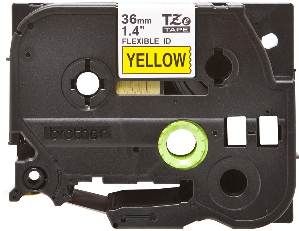 Oryginalna taśma identyfikacyjna Flexi ID TZe-FX661 firmy Brother – czarny nadruk na żółym tle, 36mm szerokości
