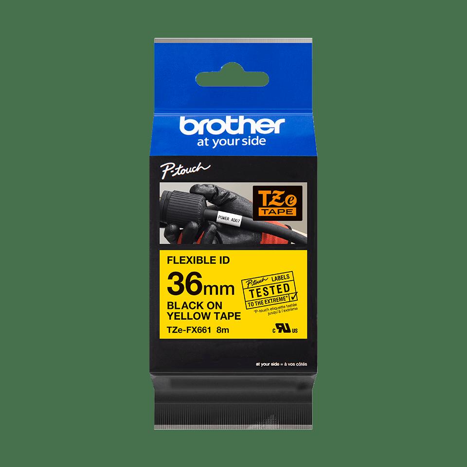 Oryginalna taśma identyfikacyjna Flexi ID TZe-FX661 firmy Brother – czarny nadruk na żółym tle, 36mm szerokości 3
