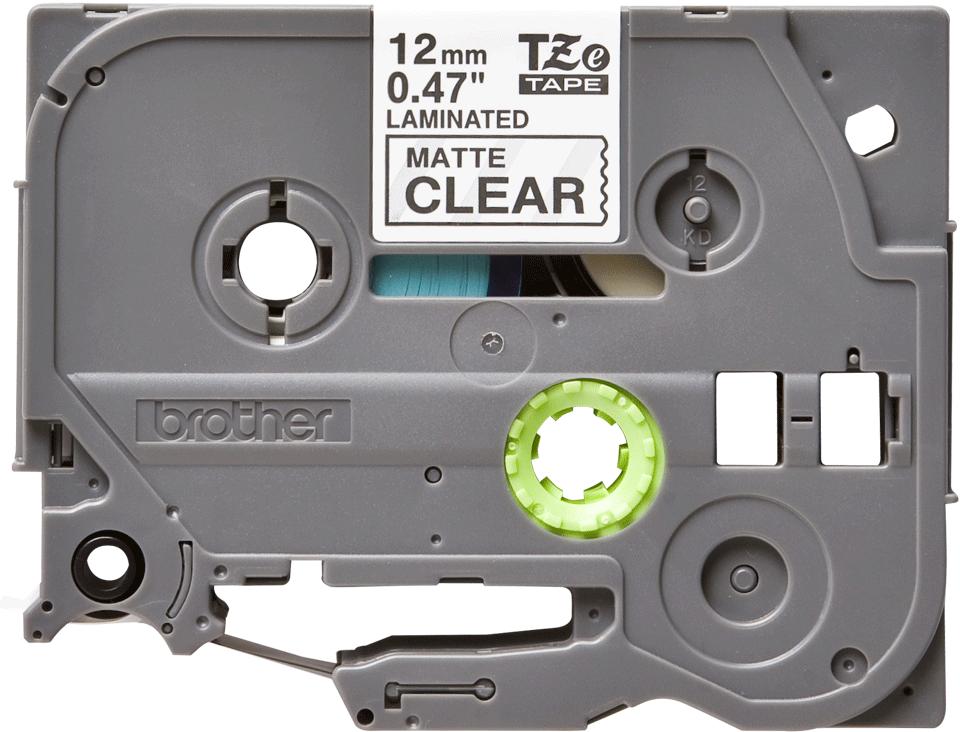 Oryginalna taśma do etykietowania Brother Tze-M31 – czarny nadruk na przezroczystym matowym tle, szerokość 12mm