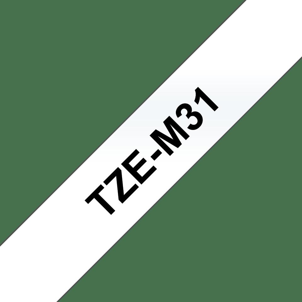Oryginalna taśma do etykietowania Brother Tze-M31 – czarny nadruk na przezroczystym matowym tle, szerokość 12mm 3
