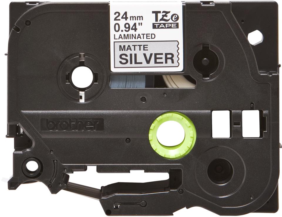 Oryginalna matowa taśma TZe-M951 firmy Brother – czarny nadruk na srebrnym matowym tle, 24mm szerokości 2