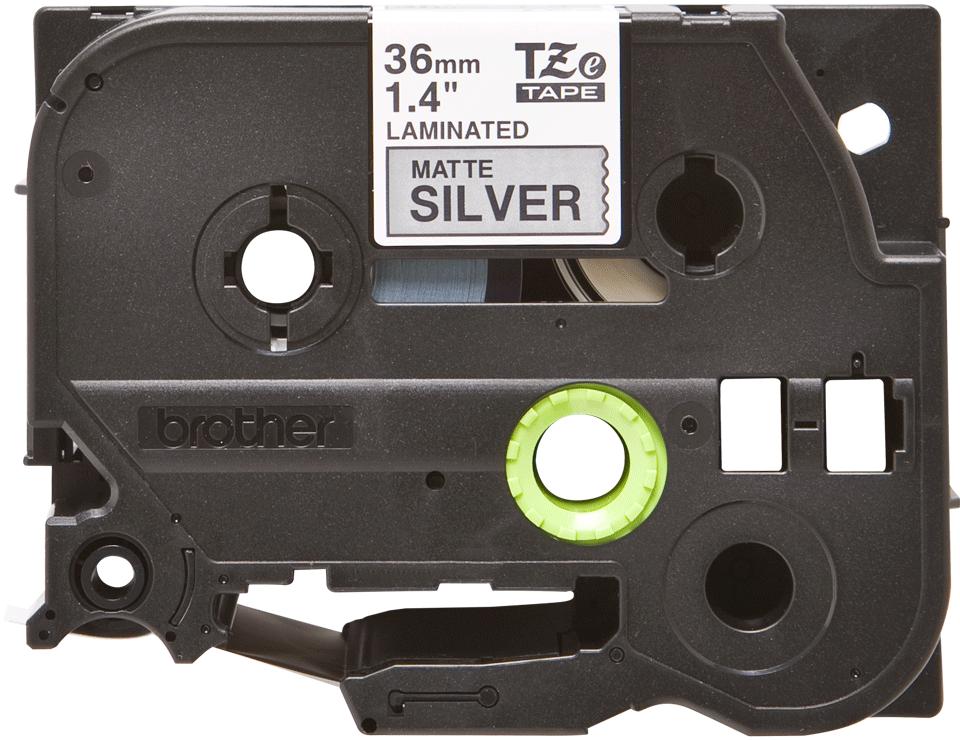 Oryginalna matowa taśma TZe-M961 firmy Brother – czarny nadruk na srebrnym matowym tle, 36mm szerokości