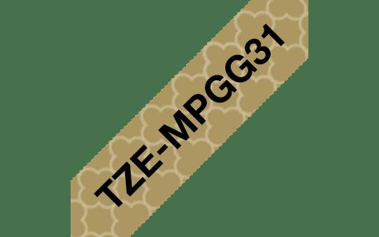 Oryginalna taśma do etykietowania Brother TZe-MPGG31 – czarny nadruk na złotym wzorze, 12 mm szerokości 3