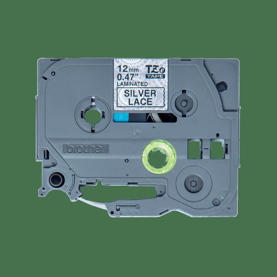 Oryginalna taśma Brother TZe-MPSL31 do drukarek etykiet – czarny nadruk na tle w srebrną koronkę, 12 mm szerokości