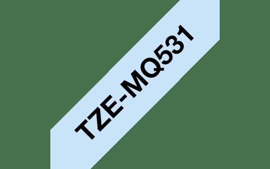 Oryginalna taśma TZe-MQ531 firmy Brother – czarny nadruk na jasno niebieskim tle, 12mm szerokości 3