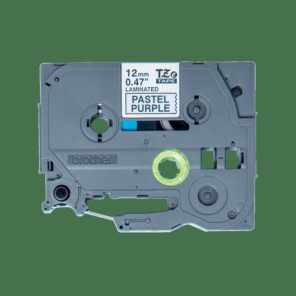 Oryginalna taśma Brother TZe-MQF31 do drukarek etykiet – czarny nadruk na pastelowo fioletowym tle, 12 mm szerokości