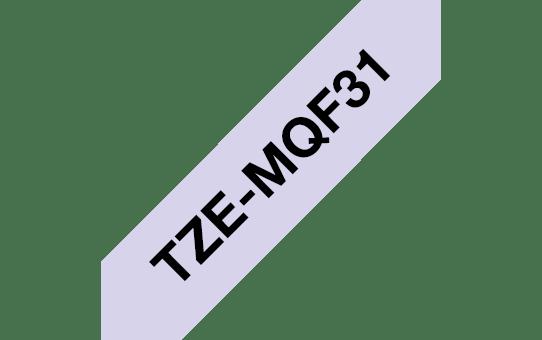 Oryginalna taśma Brother TZe-MQF31 do drukarek etykiet – czarny nadruk na pastelowo fioletowym tle, 12 mm szerokości 3