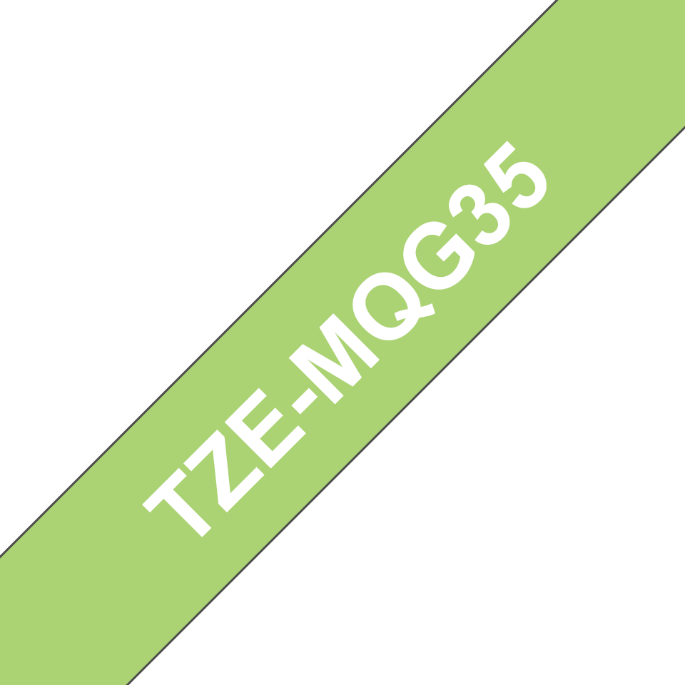 Oryginalna matowa taśma TZe-MQG35 firmy Brother – biała na matowym limonkowym tle, 12mm szerokości