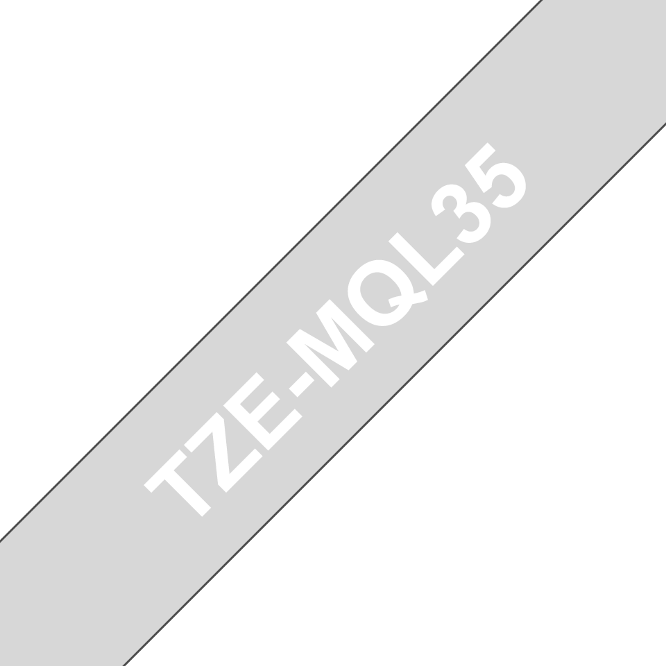 Oryginalna matowa taśma TZe-MQL35 firmy Brother – biały nadruk na matowym szarym tle, 12mm szerokości