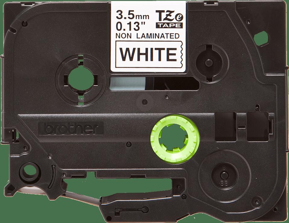 Oryginalna nielaminowana taśma TZe-N201 firmy Brother – czarny nadruk na białym tle, 3.5mm szerokości