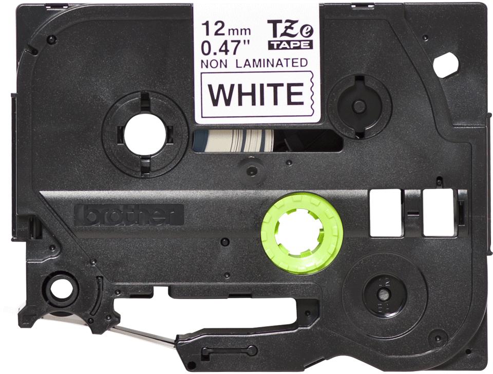 Oryginalna nielaminowana taśma TZe-N231 firmy Brother – czarny nadruk na białym tle, 12mm szerokości