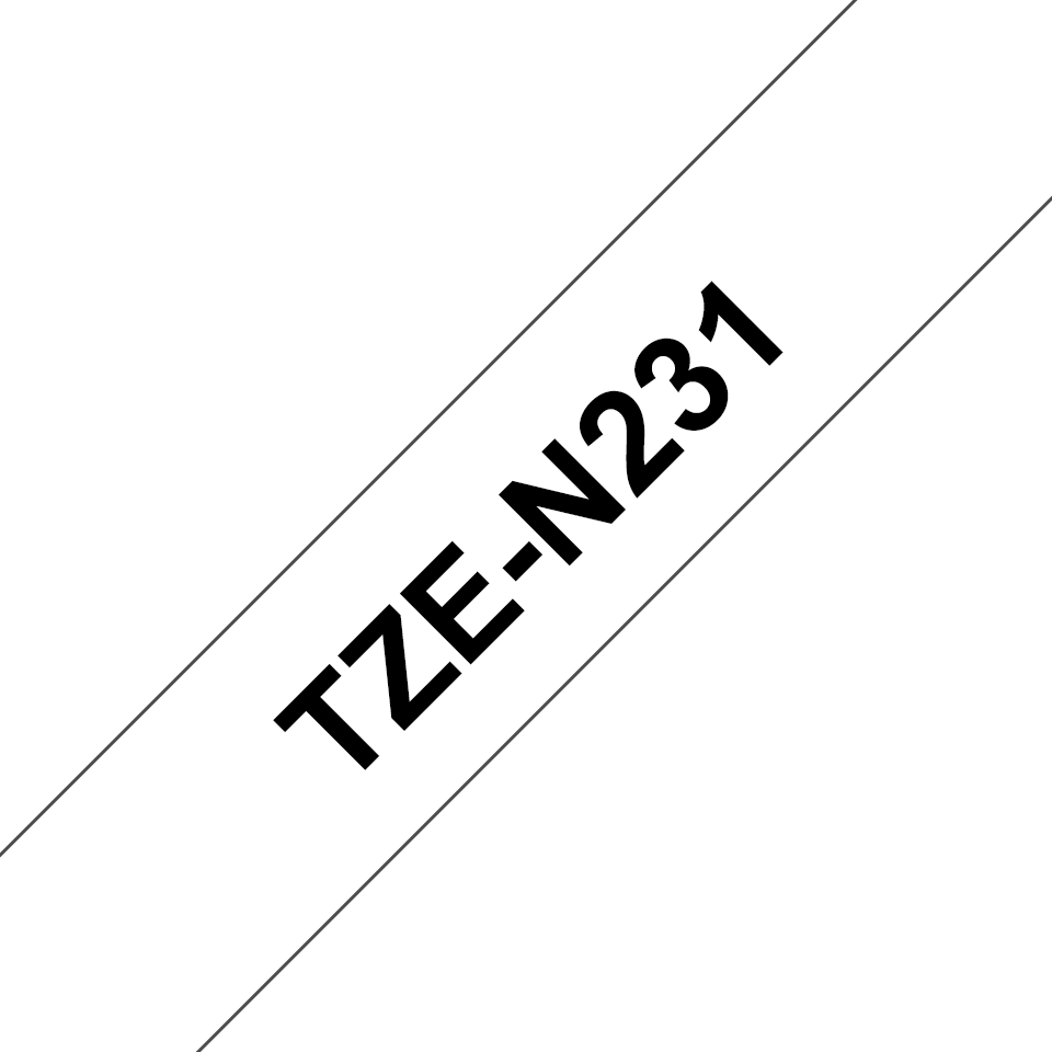 Oryginalna nielaminowana taśma TZe-N231 firmy Brother – czarny nadruk na białym tle, 12mm szerokości 3