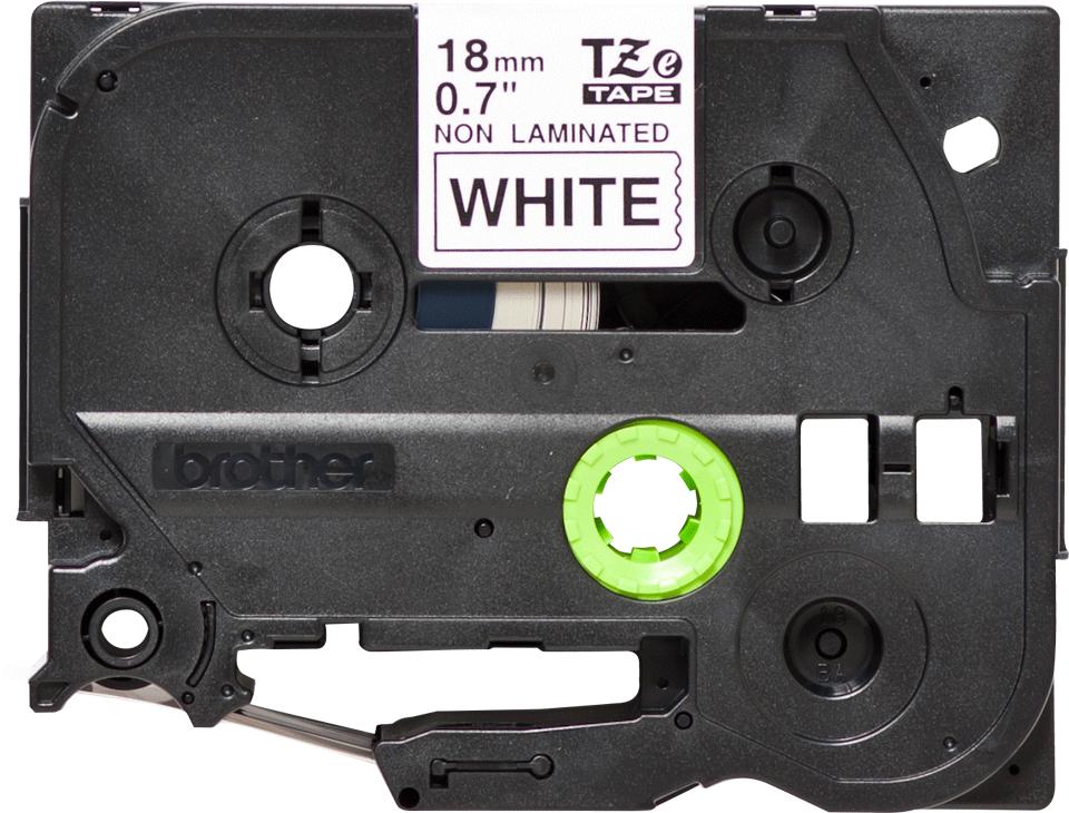 Oryginalna nielaminowana taśma TZe-N241 firmy Brother – czarny nadruk na białym tle, 18mm szerokości