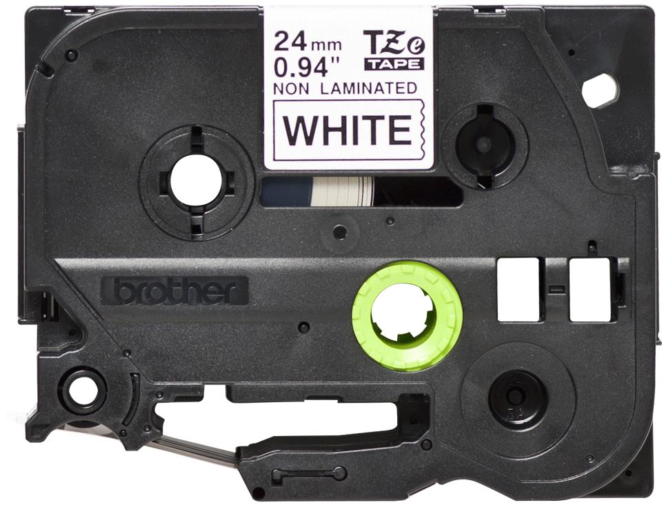 Oryginalna nielaminowana taśma TZe-N251 firmy Brother – czarny nadruk na białym tle, 24mm szerokości