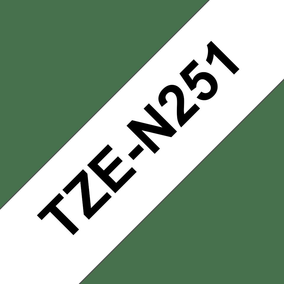 Oryginalna nielaminowana taśma TZe-N251 firmy Brother – czarny nadruk na białym tle, 24mm szerokości 3