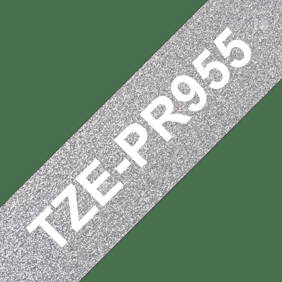 Oryginalna taśma premium TZe-PR955 firmy Brother – biały nadruk na srebnym tle, 24 mm szerokości 3