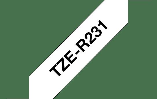 Oryginalna taśma wstążkowa TZe-R231 firmy Brother – czarny nadruk na biały tle, 12mm szerokości 3