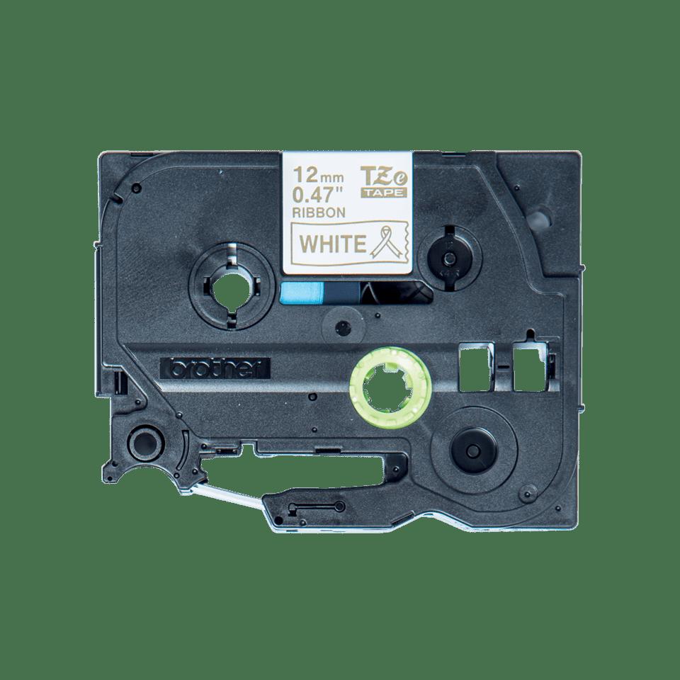 Oryginalna taśma wstążkowa Brother TZe-R234  – złoty nadruk na białym tle, 12 mm szerokości