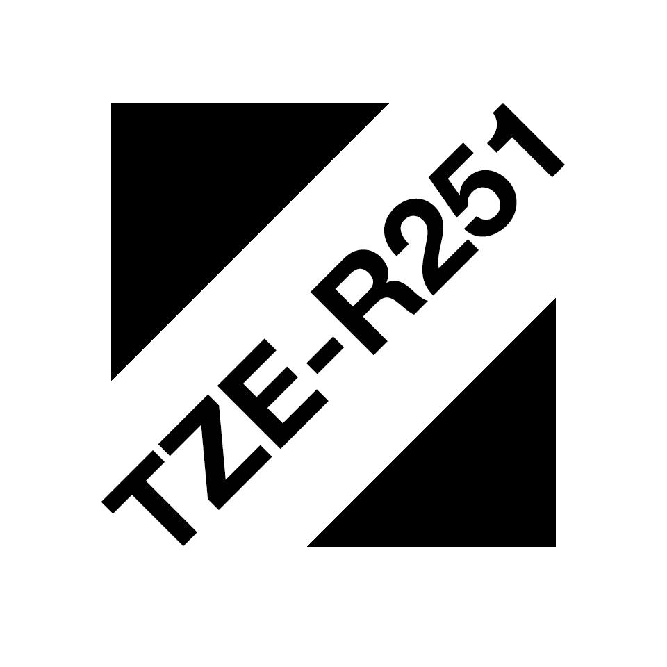 Oryginalna taśma wstążkowa Brother TZe-R251 – czarny nadruk na białym tle, 24mm szerokości 3