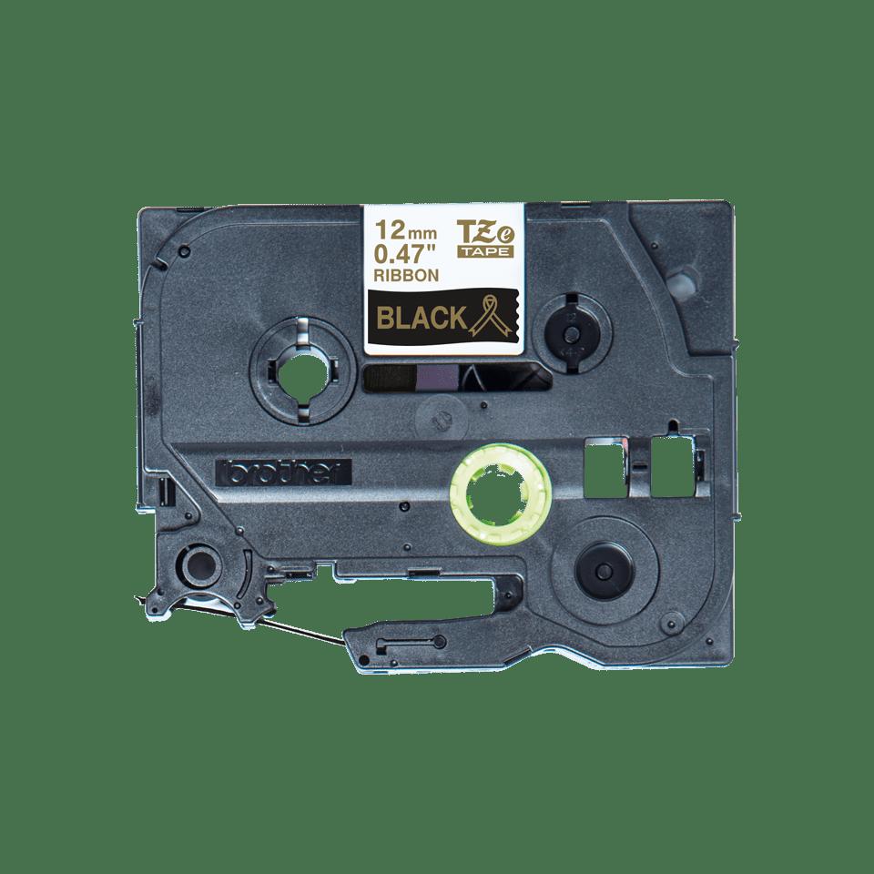 Oryginalna taśma wstążkowa Brother TZe-R334 – złoty nadruk na czarnym tle, 12mm szerokości