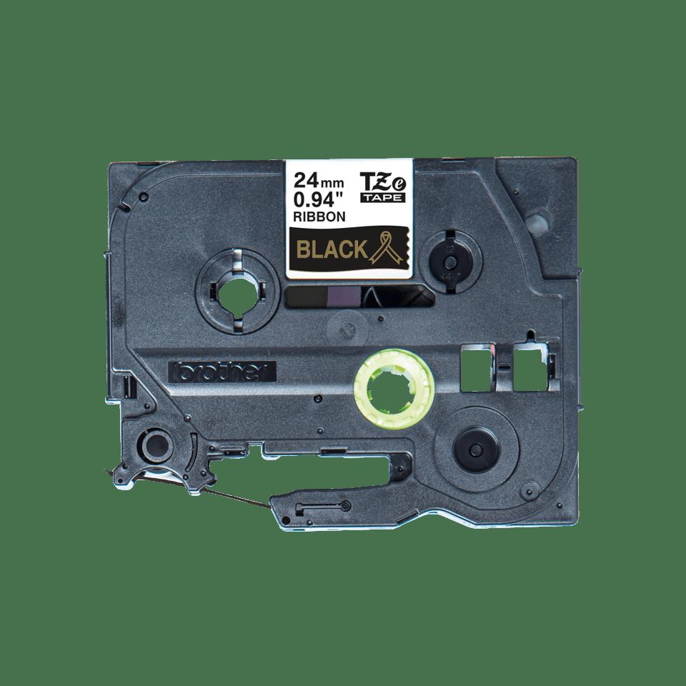 Oryginalna taśma wstążkowa Brother TZe-R354 – złoty nadruk na czarnym tle, 24mm szerokości 2