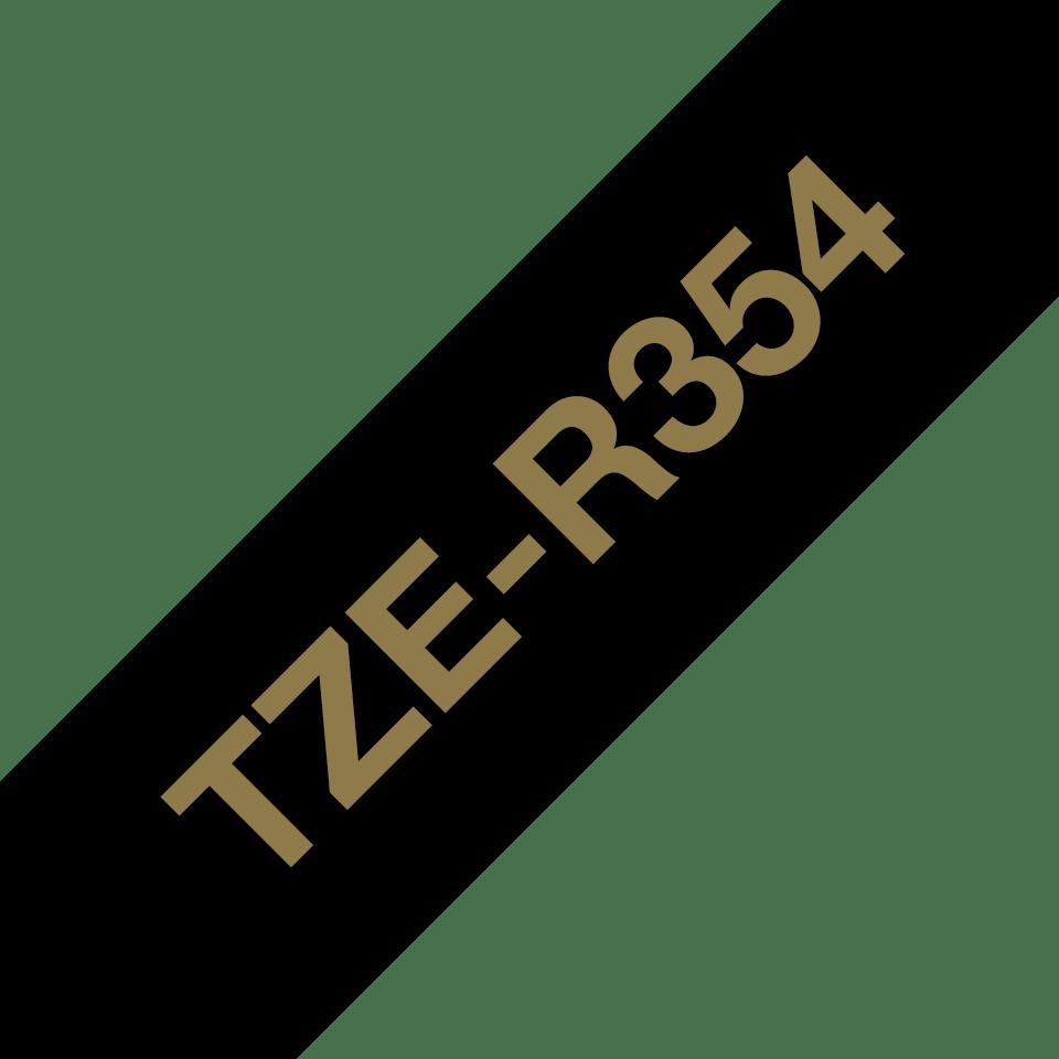 Oryginalna taśma wstążkowa Brother TZe-R354 – złoty nadruk na czarnym tle, 24mm szerokości