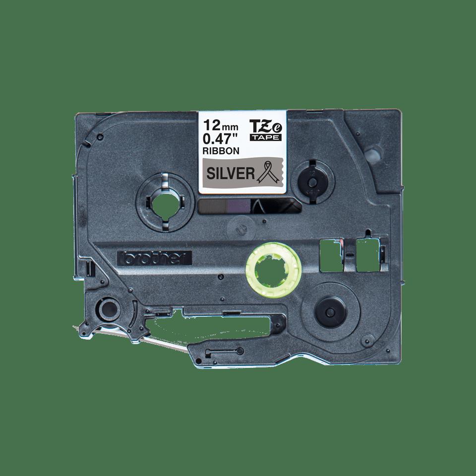 Oryginalna taśma wstążkowa Brother TZe-R931 – czarny nadruk na srebrnym tle, 12mm szerokości