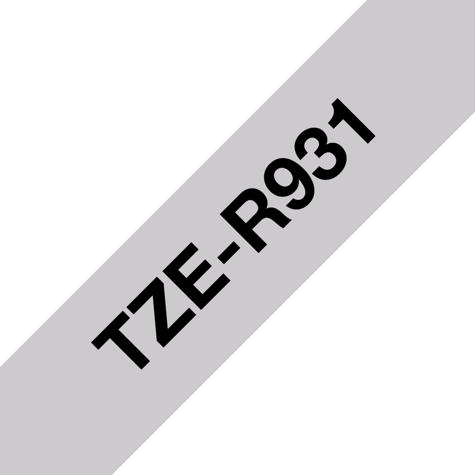 Oryginalna taśma wstążkowa Brother TZe-R931 – czarny nadruk na srebrnym tle, 12mm szerokości 3