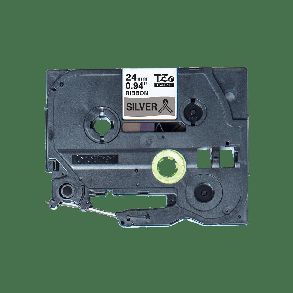 Oryginalna taśma wstążkowa Brother TZe-R951 – czarny nadruk na srebrnym tle, 24mm szerokości 2