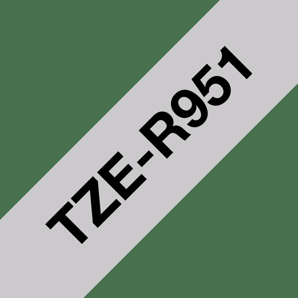 Oryginalna taśma wstążkowa Brother TZe-R951 – czarny nadruk na srebrnym tle, 24mm szerokości