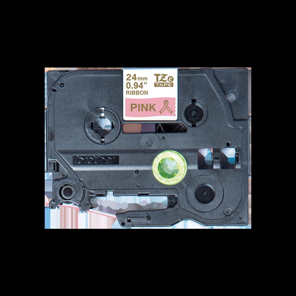 Oryginalna taśma wstążkowa Brother TZe-RE54 – złoty nadruk na różowym tle, 24mm szerokości 2